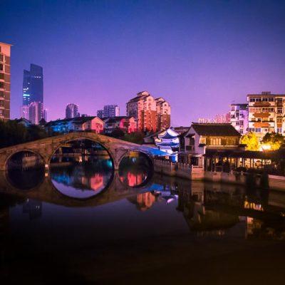China Exkursion FHWS: Huzhou bei Nacht Foto: Patrick Beuchert / www.patrick-beuchert.de