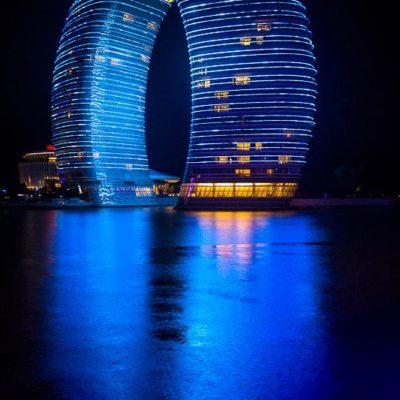 China Exkursion FHWS nach Huzhou: Sheraton Hotel bei Nacht Foto: Patrick Beuchert / www.patrick-beuchert.de