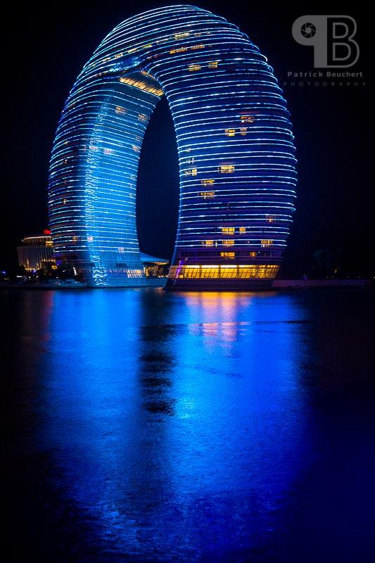 China Exkursion FHWS nach Huzhou: Sheraton Hotel bei Nacht