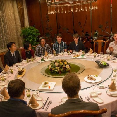 Exkursion, China: Gemeinsames Abendessen Huzhou UniversityFoto: Patrick Beuchert / www.patrick-beuchert.de