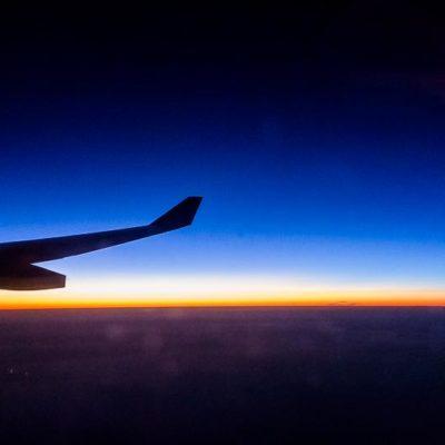 Sonnenuntergang auf 12000 Meter Höhe über dem mittleren Osten  Foto: Patrick Beuchert / www.patrick-beuchert.de