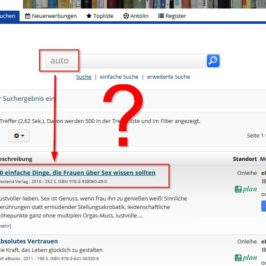 Screenshot Kuriose Suchergebnisse bei der Stadtbücherei Wertheim